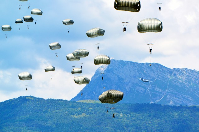This photo of 173rd Airborne Brigade paratroopers conducting an airborne operation in Pordenone, Italy, earned Visual Information Specialist Davide Dalla Massara, from 7th Army Training Command, first place in the Pictorial Category of the U.S. Army Europe level Keith L. Ware Public Affairs Competition.