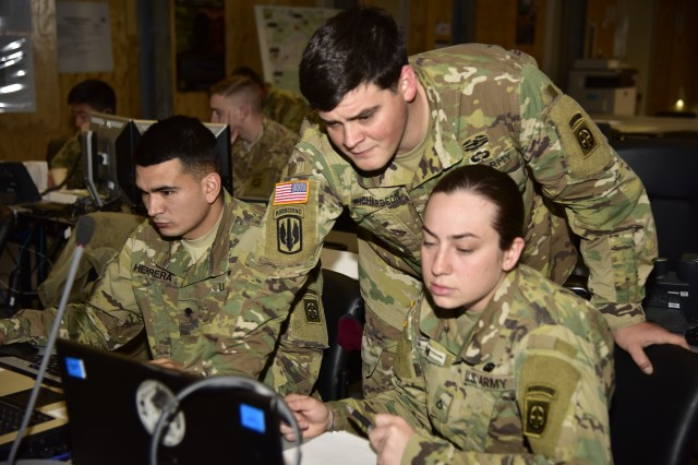 Grafenwoehr, Germany (March 6, 2017) - Artillery paratroopers assigned to the 82nd Airborne Division Artillery, Fort Bragg, NC, reviews fire mission data in the tactical operations center here. Dynamic Front II is an artillery operability exercise taking place at the 7th Army Training Command's Grafenwoehr Training Area, Germany, Feb. 26 to March 10, 2017. (US Army photo by Staff Sgt. Kathleen V. Polanco)