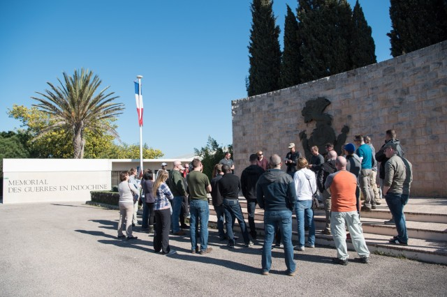FREJUS, France - Leaders of the 212th Combat Support Hospital role play as soldiers of Allied and Axis forces, at the Memorial des Guerres en Indochine during a staff ride in southern France covering Operation Anvil - Dragoon, the invasion of southern France, Feb. 26, 2017. (U.S. Army photo by Maj. Chris Angeles, 67th Forward Surgical Team)