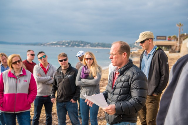 SAINT-BARTH, France - Standing on Delta Beach, Lt. Col. Paul B. Masters, clinical nurse officer in charge emergency medical treatment section, briefs fellow leaders on German medical organizations and functions during Operation Anvil - Dragoon, the Allied invasion of southern France, Feb. 27, 2017. (U.S. Army Photo by Maj. Chris N. Angeles, 67th Forward Surgical Team)