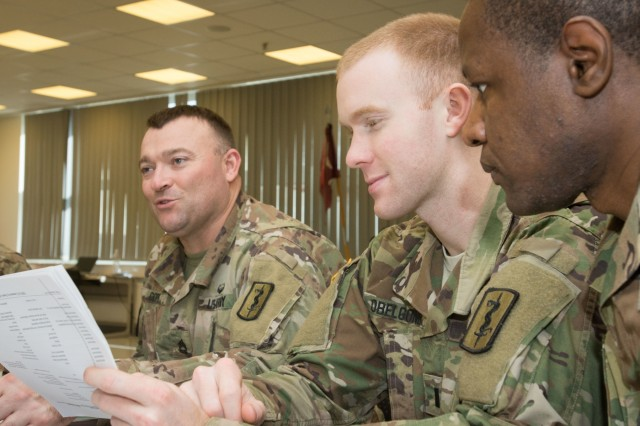LANDSTUHL, Germany -Sgt. 1st Class Clayton C. Cope, 254th Medical Detachment, Combat and Operational Stress Control, Detachment Sgt., 1st Lt. Andrew D. Obelgoner, executive officer, 254th COSC, and Staff Sgt. Memory M. Moyo, platoon sergeant, assess unit behavioral health data during training by the U.S. Army Medical Department Center and School Combat and Operational Stress Control Mobile Training Team on Mar. 2, 2017. (U.S. Army photo by Capt. Jerome Ferrin, 30th Medical Brigade Public Affairs)