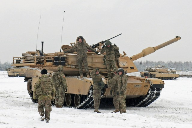 A tank crew from 1st Battalion, 8th Infantry Regiment, 3rd Armored Brigade Combat Team, 4th Infantry Division participates in a live fire exercise Jan. 16, 2017, in Zagan, Poland. On March 8, 2017, Lt. Gen. Aundre Piggee, Army G-4, told the House Armed Services Readiness Subcommittee that the Army's immediate concern is filling the Army Prepositioned Stock 2 in Europe.