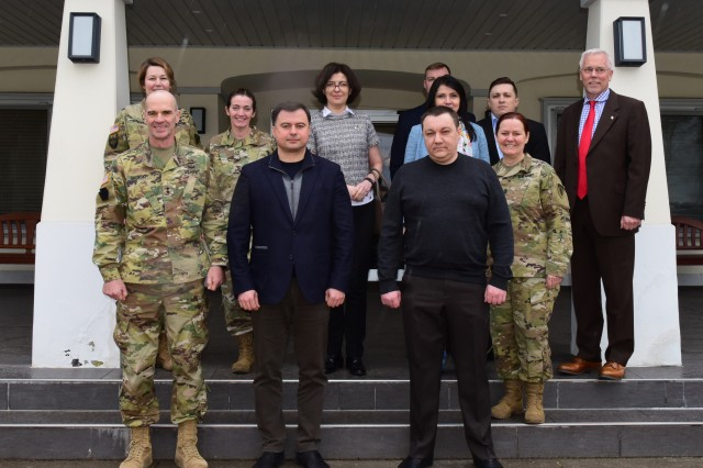 U.S. Army Europe's senior leaders and Ukrainian Parliamentarian pose for a group photo, Mar. 8. The group spent two-days discussing the civilian oversight of the military and military training in Ukraine