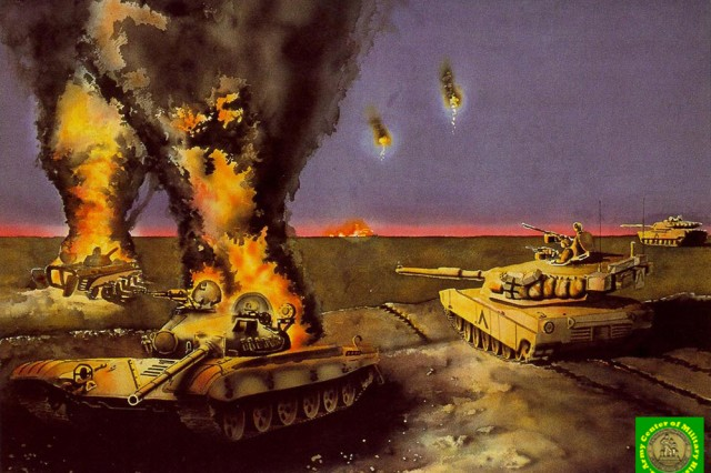 """Illustration titled """"Night Attack"""" by Mario Acevedo, U.S. Army Center for Military History."""