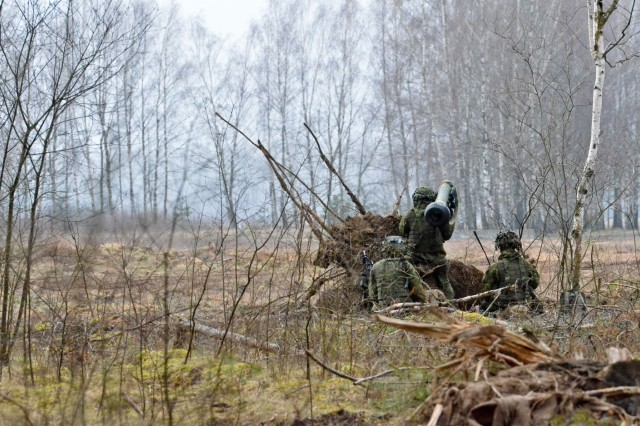 "Lithuanian soldiers defend their position with anti-tank weaponry during a combined exercise ""Savage Wolf"" with U.S. Soldiers from Company B, 1st Battalion, 68th Armored Regiment, 3rd Armored Brigade Combat Team, 4th Infantry Division, out of Fort Carson, Colo., as part of Operation Atlantic Resolve, April 4. The U.S. and Lithuanian Soldiers are split into two integrated teams and are given either an offensive role in taking an 'airfield' or defensive role to keep their position on the 'airfield'. The U.S. and our Allies and partners are making strides toward interoperability by continuously training together and implementing innovative solutions to common problems. Operation Atlantic Resolve is a U.S. led effort in Eastern Europe that demonstrates U.S. commitment to the collective security of NATO and dedication to enduring peace and stability in the region. (U.S. Army photo by Staff Sgt. Charlene Moler)"