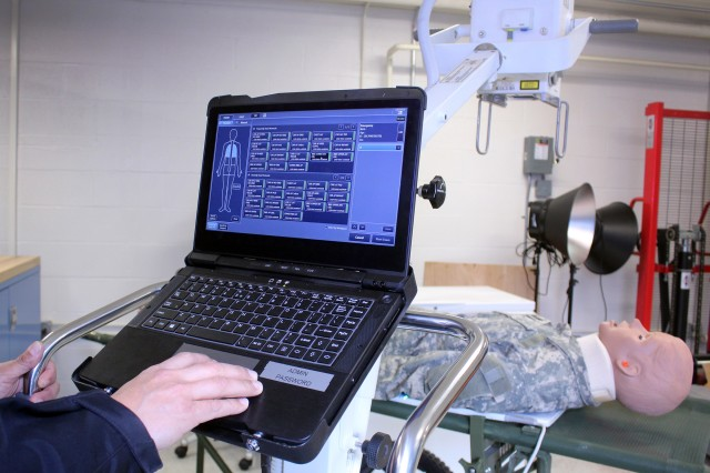 U.S. Army Medical Materiel Agency will field a new Portable Digital Radiography System (PDRS) that will replace two aging devices, including an X-ray generator and an accompanying computerized reader system. The PDRS combines these capabilities into a single lightweight X-ray unit intended for use by deployed medical, Special Operations and Mortuary Affair Army units. Photo by Ellen Crown, US Army Medical Materiel Agency.