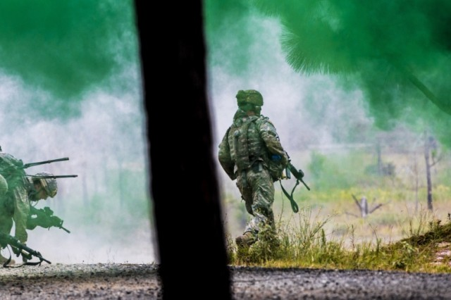 New York Army National Guard infantrymen assigned to Co. C, 1st Battalion, 69th Infantry Regiment based in New York City assault Objective Tarantula during a live fire training exercise at the Joint Readiness Training Center, Ft. Polk, La., July 25, 2016.