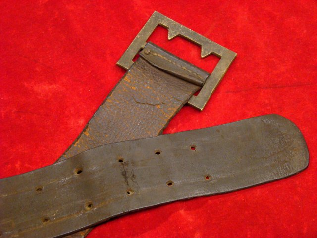 Extremely Rare Confederate Enlisted Man S Heavy Frame Buckle On It Original Accoutrement Belt Identified To Private W R Barnett Co