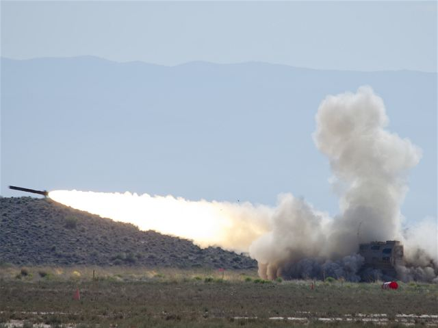 Over 100 artillery rockets were launched June 16 at White Sands Missile Range to test an improved version of the M270A1 Multiple Rocket Launch System. The test, conducted at WSMR's G-16 impact area, saw an M270A1 MLRS vehicle equipped with a new armored cab fire 138 rockets to ensure the improvements didn't negatively impact the vehicle's mission performance.
