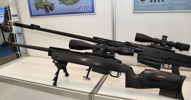 The MTs-116R, a 12.7 mm sniper rifle designed by Russian-based Shipunov Instrument-Making Design Bureau, is pictured at a defense industry event in 2013. (Vitaly V. Kuzmin/Wikimedia Commons)