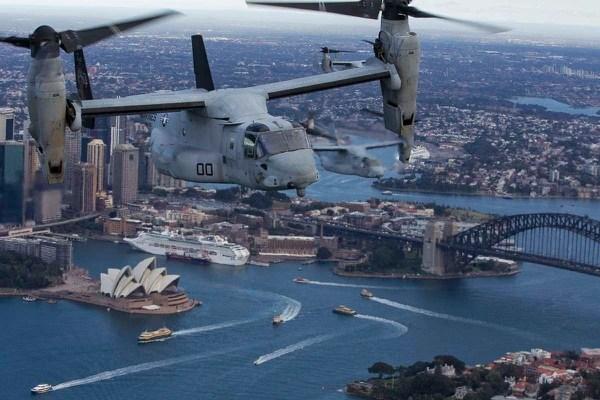 Three MV-22B Osprey tiltrotor aircraft fly in formation on June 29, 2017, above Sydney, Australia. (Staff Sgt. T. T. Parish/Marine Corps)