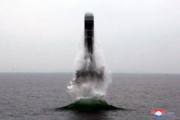 In this Oct. 2, 2019, file photo provided by the North Korean government, an underwater-launched missile lifts off in the waters off North Korea's eastern coastal town of Wonsan, North Korea. (Korean Central News Agency/Korea News Service via AP, File)