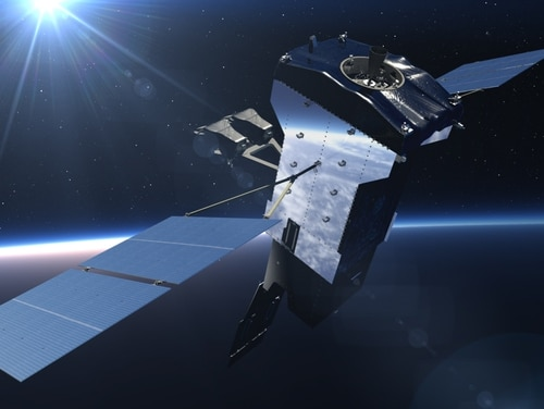 An artist's rendering of the fifth geosynchronous Space Based Infrared System on orbit. (Lockheed Martin)