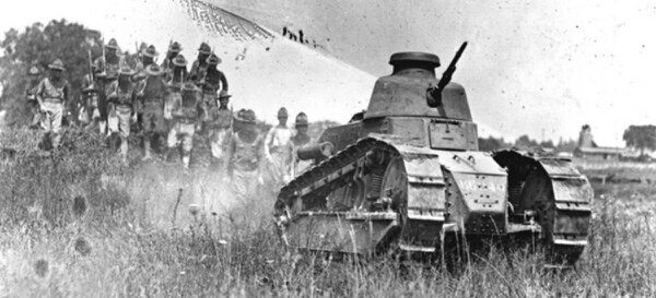 Infantry train with a Renault FT-17 tank at Camp Colt, the Gettysburg home of the Tank Corps of the U.S. Army. (National Park Service)