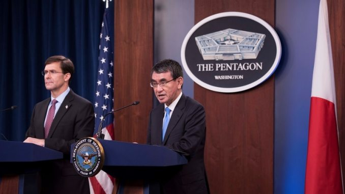 Defense Secretary Mark Esper and Japanese Defense Minister Tarō Konō hold a bilateral press briefing at the Pentagon, Washington, D.C., Jan. 14, 2020. (DoD photo by Navy Petty Officer 2nd Class James K. Lee)