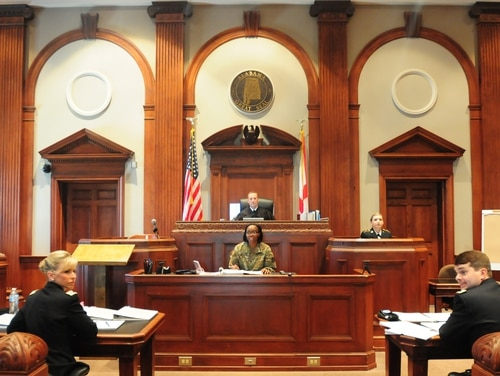 The group Protect Our Defenders released a report May 27 that found the Air Force still experiences wide racial disparities in its military justice system. Pictured, the 167th Theater Sustainment Command Judge Advocate General section conducts a mock trial in August 2018 at the Calhoun County Courthouse, Anniston, Alabama. (Staff Sgt. Katherine Dowd/Army National Guard)