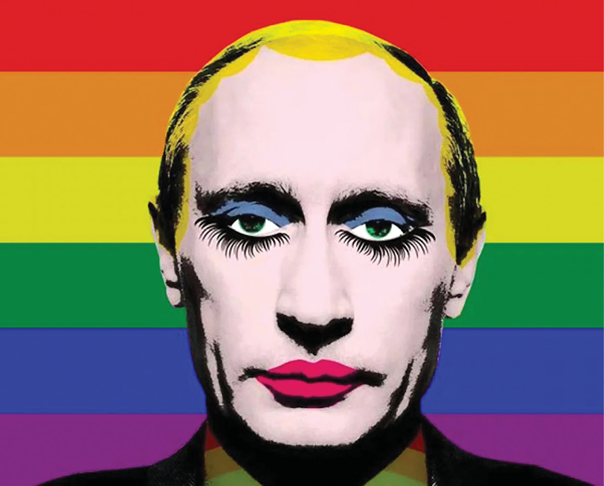 """Vladimir Putin officially banned this popular meme of himself with his face painted in drag. That reaction inadvertently made the meme more popular than ever, and it became an international sensation. According to the author of this article, Putin's """"thin skin"""" makes him an easy target for ridicule.  (Artist unknown)"""