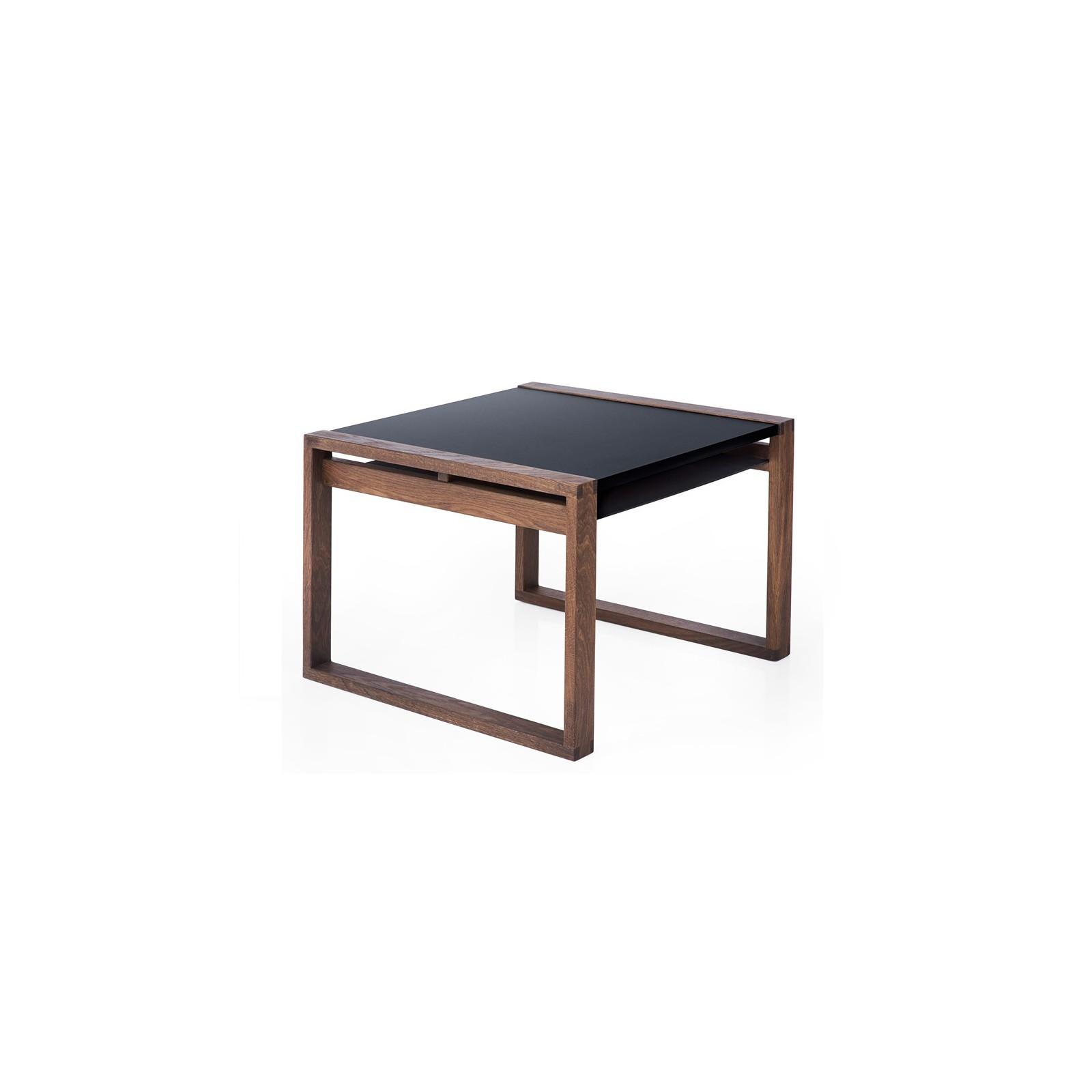 table cadre noir et bois teinte