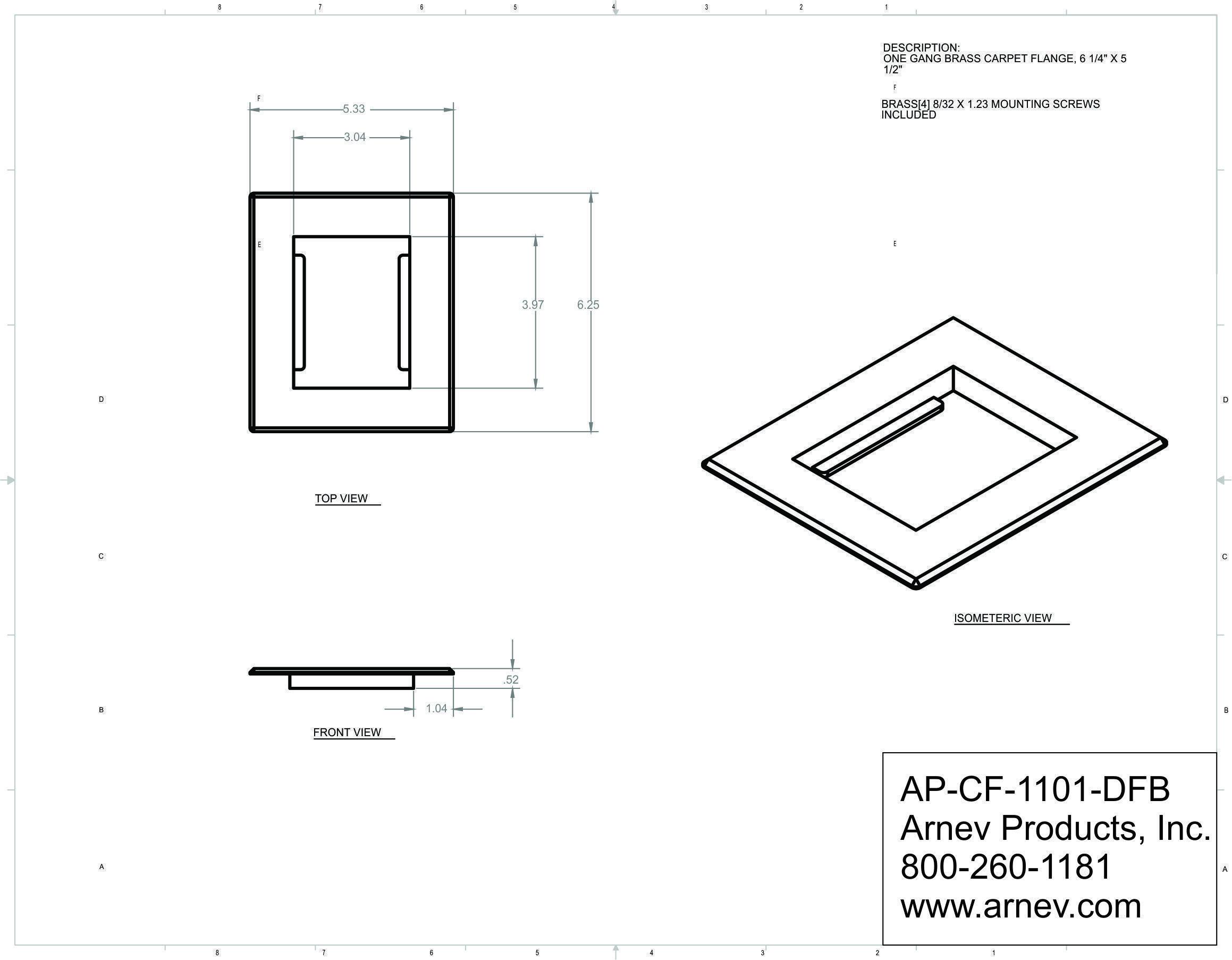 Ap Cf Dfb Carpet Flange Concrete Floor Electrical