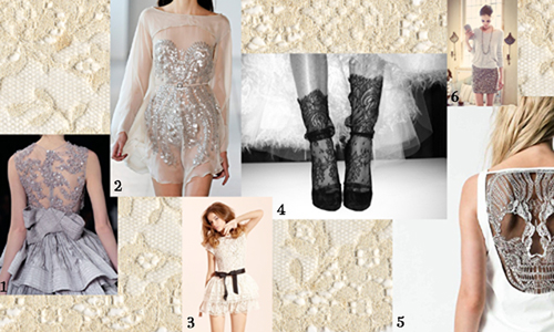 Lace and glitter moodboard