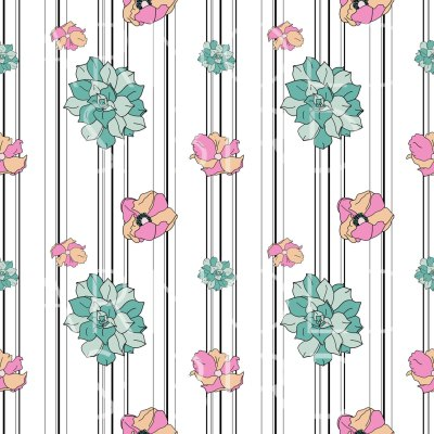 Floral horizontal stripe- surface pattern design repeat