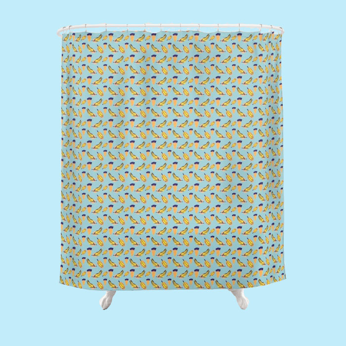 Floating Feathers on Blue Surface Pattern shower curtain by Arnold & Bird on Society6
