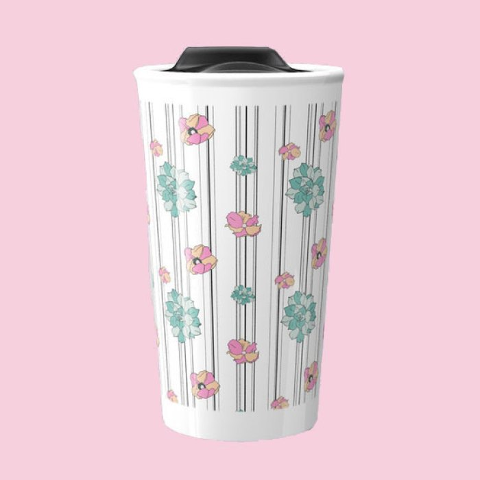 Flowers and Succulents on Black & White Stripes Surface Pattern ceramic travel mug by Arnold & Bird on Society6