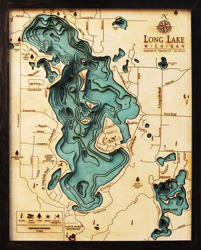 Wood chart wooden topographic lake