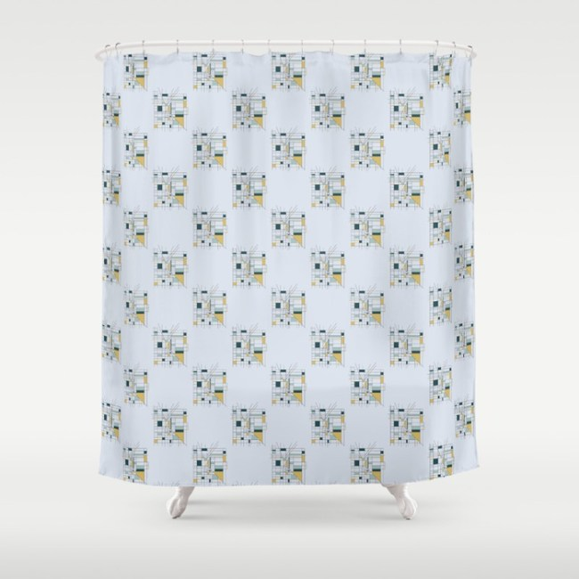 city grid geometric surface pattern shower curtain by Arnold & Bird on Society6