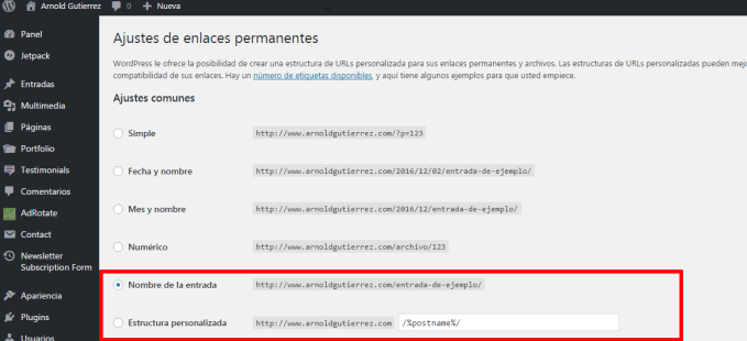 ajustes enlaces permanentes wordpress