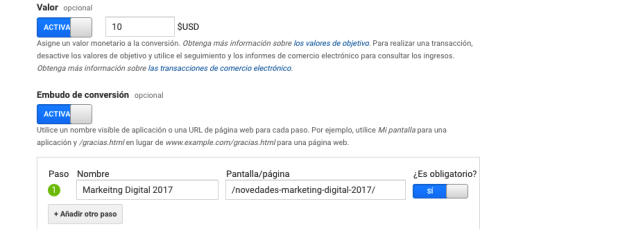 google analytics valores embudos conversion