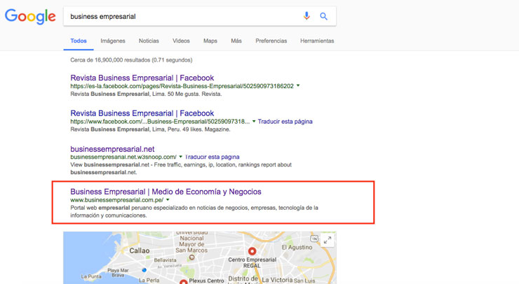 business empresarial serps google