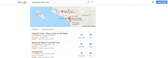 optimización de busquedas locales agencias de viajes en lima