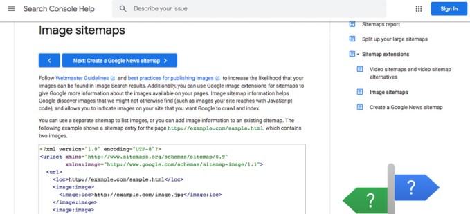 optimizacion mapa de sitio de imagenes google