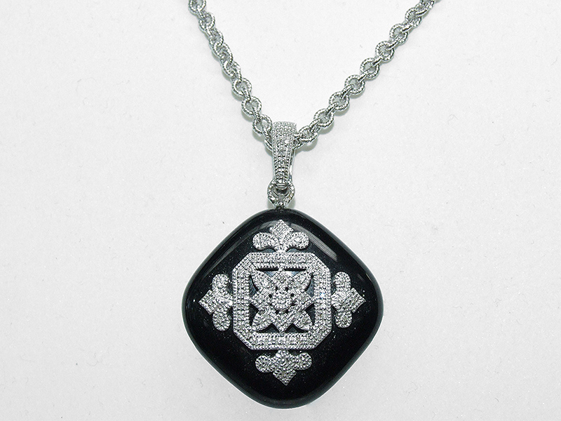 Men's Black Onyx Diamond Pendant