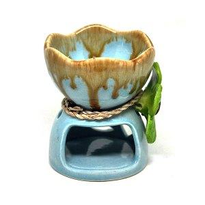 เตาอโรม่า เซรามิค ศิลาดล สีฟ้า ประดับดอกไม้ CF07
