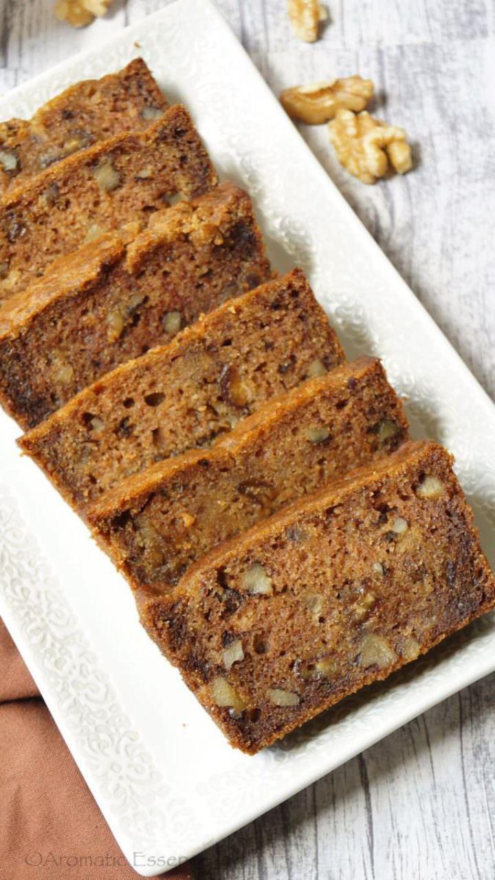 Eggless Date & Walnut cake | Date & Walnut Loaf