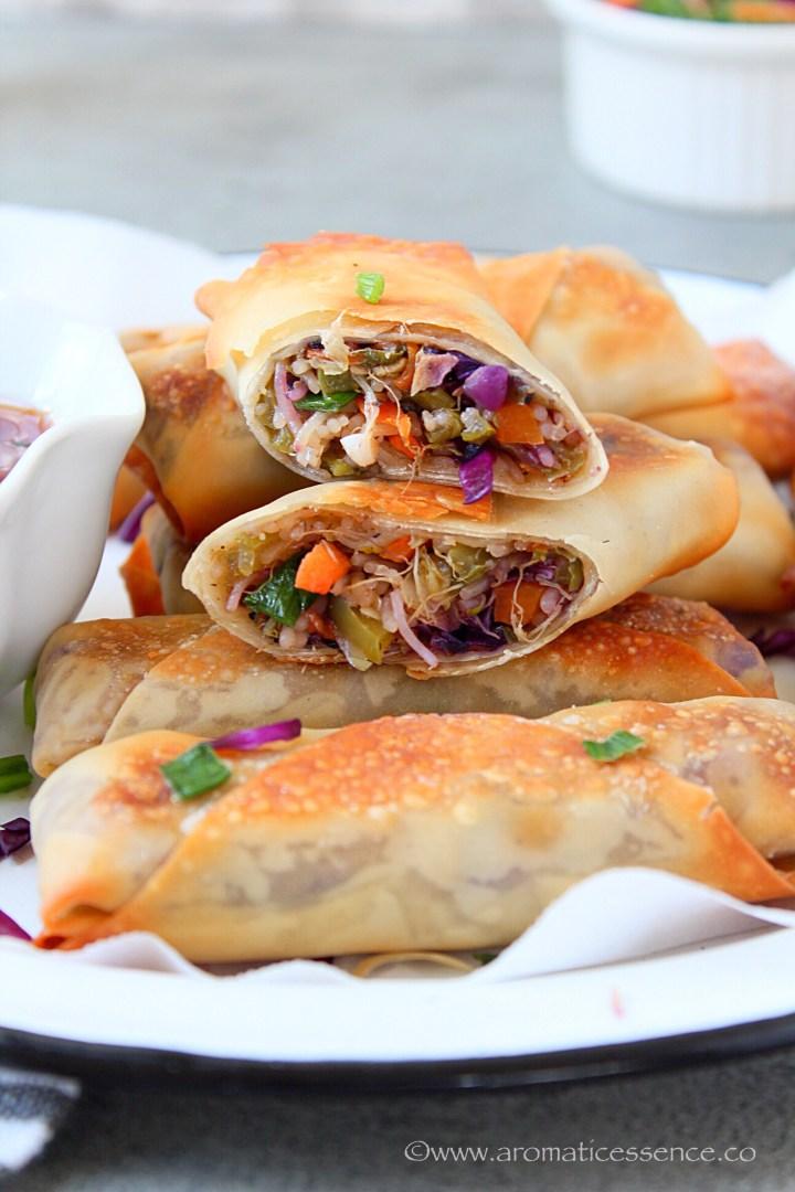Veggie Spring Rolls Recipe (Baked) | Chinese Vegetable Spring Roll Recipe