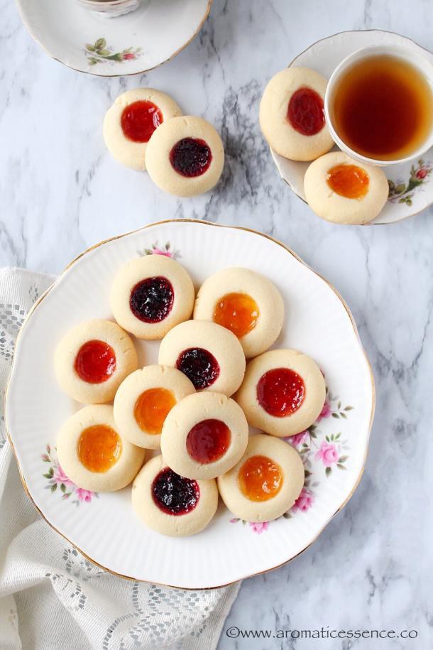 Eggless Thumbprint Cookies | Shortbread Thumbprint Cookies | Rosenmunnar