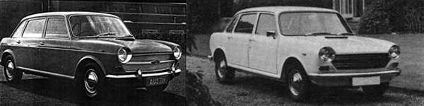 On the left is an early (1964 vintage) Austin 1800 and on the right is a late (1974) Austin 1800 Mk3.