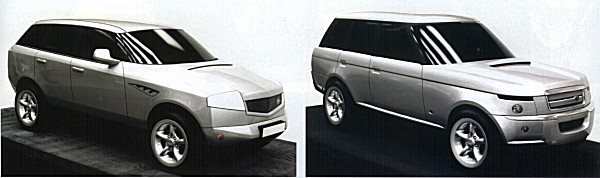 Two studies that were passed over in the search for the new Range Rover. On the left, the DRA proposal was daring amd quite sporting, but not in-theme enough to be taken further. On the right, a radical frontal treatment for the Range Rover was drawn up... it would appear that elements of the flanks, especially around the rear wheelarches, did make it onto the production version.