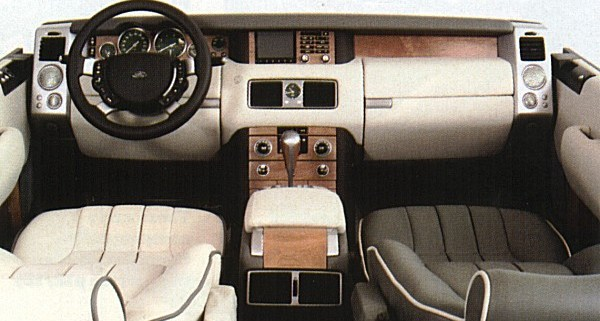 """Full size mock-up of the Range Rover interior shows that the luxury was added to the architectural theme investigated in the original """"Discovery"""" sketches. The finished article was a triumph of design, and like Rolls-Royce's designs, the Range Rover's buttons were all operable by a gloved driver. Ford design boss, J Mays described the Range Rover interior as, """"the best I have ever seen""""."""