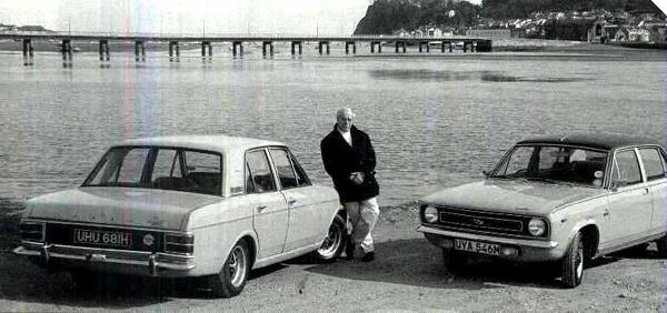 "Roy Haynes pictured with two of his foremost creations: the MkII Ford Cortina and the Morris Marina (Picture: ""Men and Motors"", Barney Sharatt)."