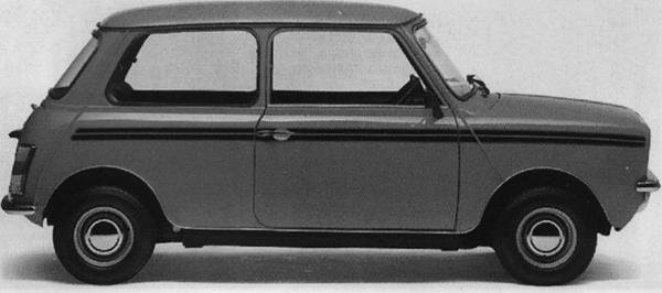 1980 saw the Mini's final fling in South Africa, with the launch of the Clubman-style 1275E, featuring a 56bhp version of the 1275cc A-series engine, 10-inch steel wheels and drum brakes all round. The 1275E, as pictured above, could easily be identified by it broad twin side-stripes.