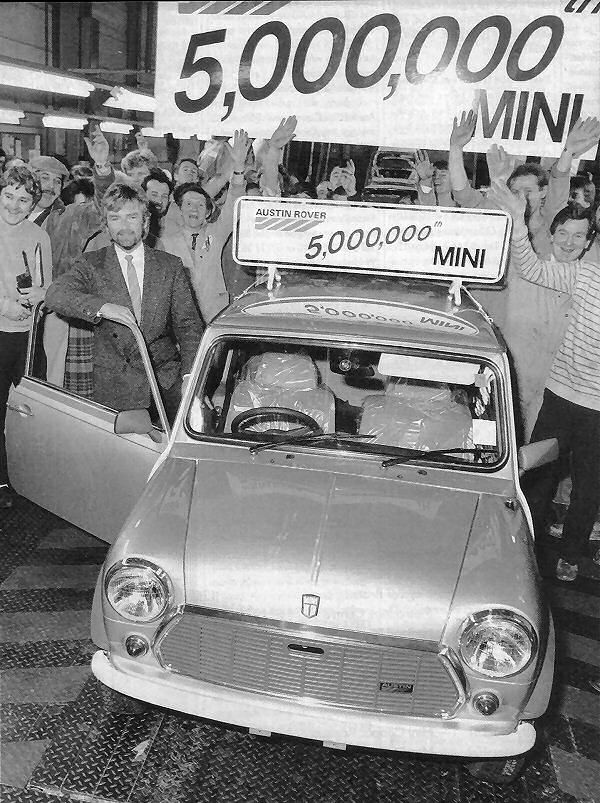 And in 1986, the five millionth Mini had been produced - Noel Edmonds saw it off the line.