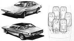 Front and rear views of the car, plus an illustration of the unusual seating arrangement.