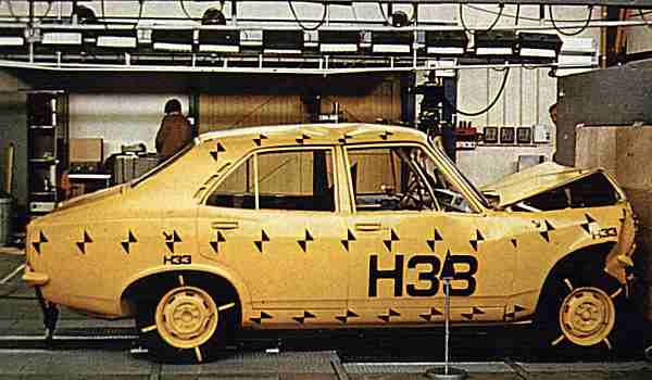 When crashed into a 100-ton concrete block at 30mph, the B Car showed admirable impact resistance, compared to its larger brother, the Hunter. The centre section remained virtually undamaged, while the steering wheel movement into the passenger was well controlled, and well within the limits of the test.