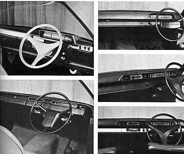 The full-size facia mockups used during the design evaluation phase. As can be seen, there was some variation from model to model, as well as some interesting steering wheel designs, that were not followed up.