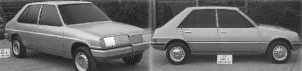 Chrysler Horizon development story: Two 1974 further C2 proposals, which followed the same train of thought as the top two.