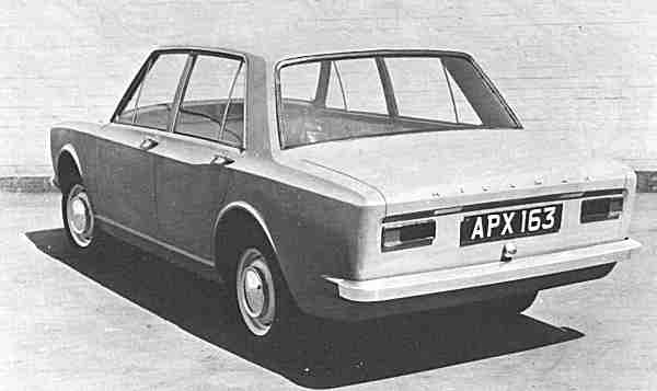 """A rejected proposal for the B Car (Avenger); this boxy saloon with its unusual haunch did not appeal to manangement, but it took clear influences from the Arrow. Note the Sunbeam badging on the front of this car; it was planned that export Hillman Hunter models would be badged in this way. (Picture: """"Cars of the Rootes Group"""", by Graham Robson)"""